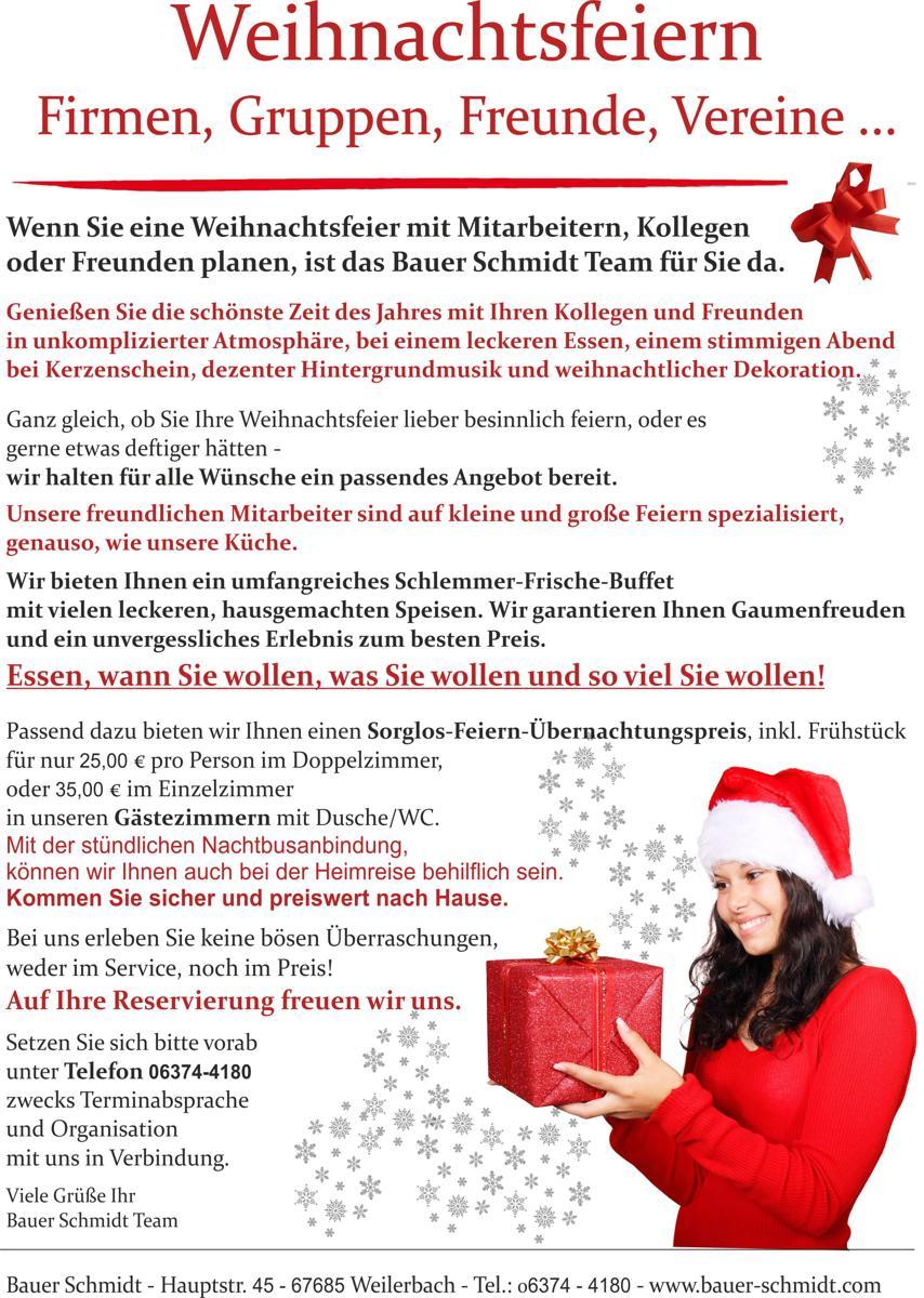 Weihnachtsfeiern für Firmen